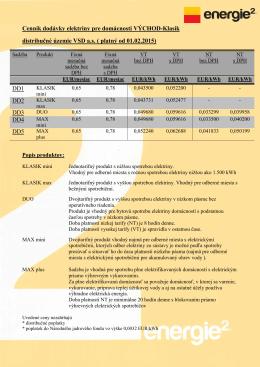 Cenník elektriny pre domácnosť platný od 01.02.2015