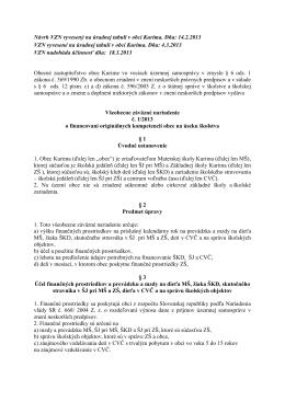 VZN o financovaní originálnych kompetencií obce na
