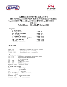 SUPPLEMENTARY REGULATIONS FIA CENTRAL EUROPEAN