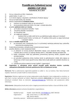 Pravidlá pre futbalový turnaj Komisie pre mládež