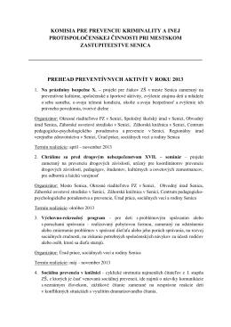 Prehľad preventívnych aktivít v roku 2013