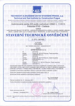 Stavební technické osvědčení TIPUR 2014