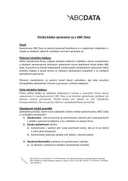 Etický kódex správania sa v ABC Data
