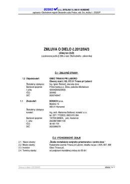 ZMLUVA O DIELO č.2012/04/3