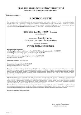 ROZHODNUTIE povolenie č. 2007T 0349 - 6. zmena