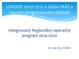 Integrovaný Regionálny operačný program 2014