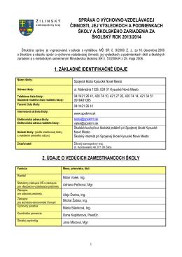 ŠKOLSKÝ ROK 2013/2014 - Spojená škola