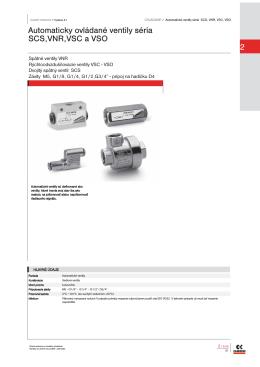 2 Automaticky ovládané ventily séria SCS,VNR,VSC a VSO