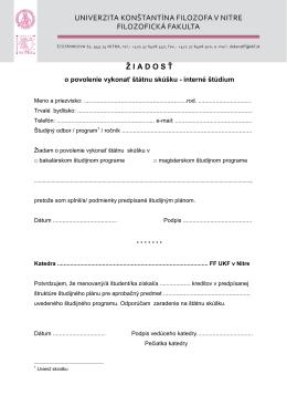 Žiadosť na vykonanie štátnej skúšky (pdf.)