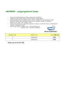 AKYPRINT – polypropylénová doska