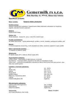 Špecifikácia produktu Sušené mlieko plnotučné
