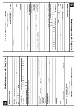 Doklad o oprave v záručnej dobe Doklad o oprave v záručnej dobe
