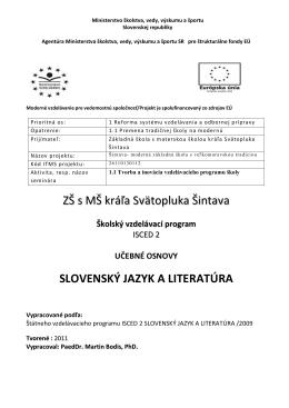 Slovenský jazyk a literatúra - ZŠ s MŠ kráľa Svätopluka Šintava