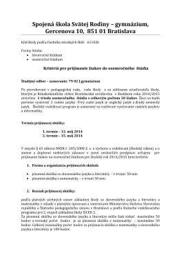 Spojená škola Svätej Rodiny – gymnázium, Gercenova