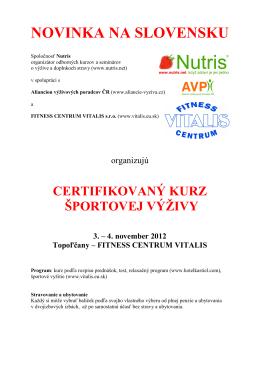 bližšie informácie o kurze športovej výživy v