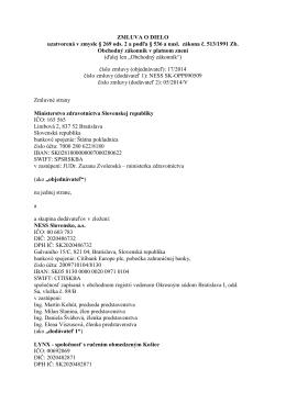 Zmluva o dielo: Elektronické služby zdravotníctva