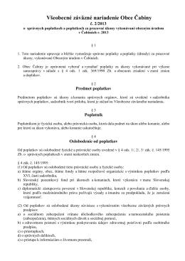 VZN č. 2/2013 o správnych poplatkoch