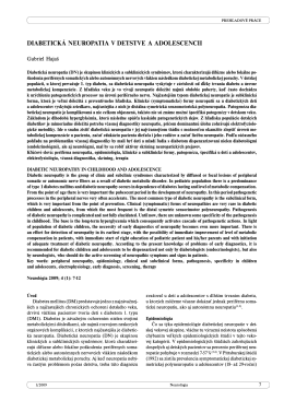 Diabetická polyneuropatia v detstve a v adolescencii