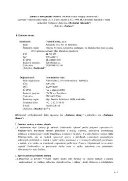 Zmluva o zabezpečení služieb č. 10/2013