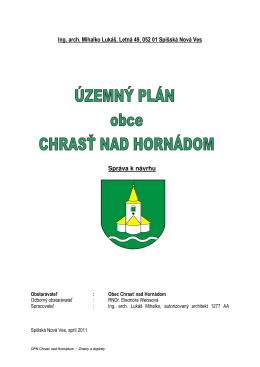 Územný plán obce - Obec Chrasť nad Hornádom
