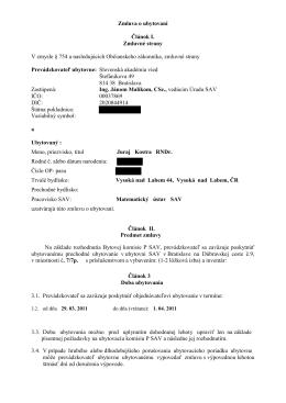 Zmluva o ubytovaní Matematický ústav SAV Štefánikova 49, 81473