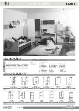 EMILY ELEMENTY INFORMÁCIA Študentská izba