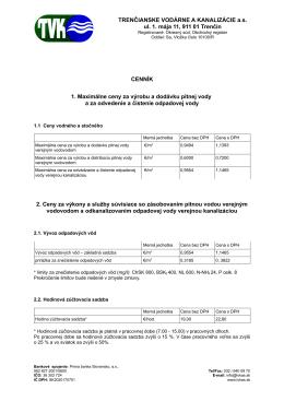 TRENČIANSKE VODÁRNE A KANALIZÁCIE a.s. ul. 1. mája