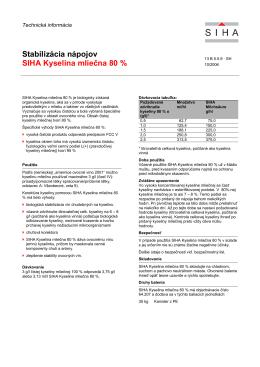 Stabilizácia nápojov SIHA Kyselina mliečna 80 %