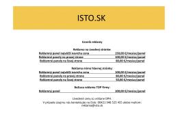 Cenník reklamy ISTO