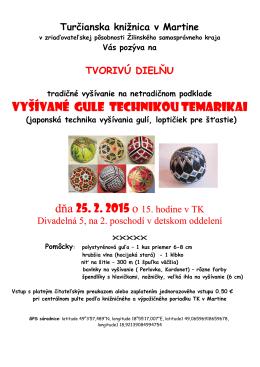 Tvorive dielne Temarikai - Turčianska knižnica v Martine