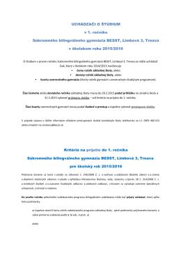 Prijímacie kritériá do 1. ročníka pre školský rok 2015/2016