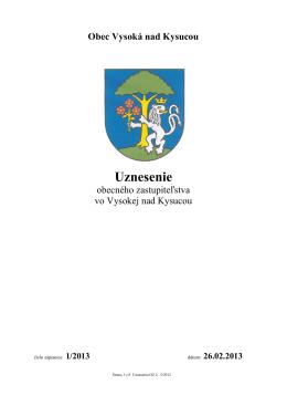 Uznesenie OZ 1/2013 - Vysoká nad Kysucou