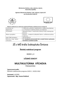 Multikultúrna výchova - ZŠ s MŠ kráľa Svätopluka Šintava