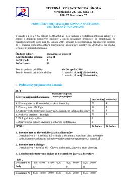 STREDNÁ ZDRAVOTNÍCKA ŠKOLA Strečnianska 20, P.O. BOX 14