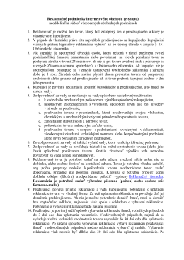 Reklamačné podmienky internetového obchodu (e - Mobil