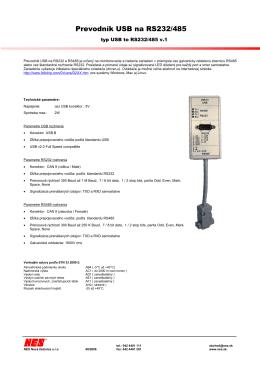 Prevodník USB na RS232/485