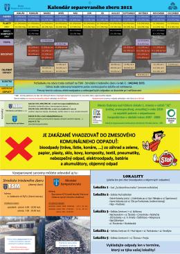 Kalendár separovaného zberu 2012