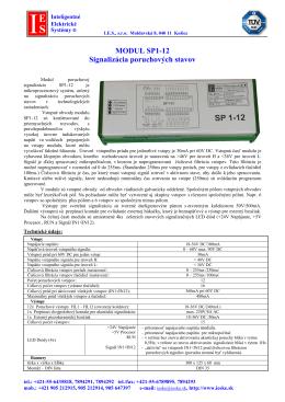MODUL SP1-12 Signalizácia poruchových stavov