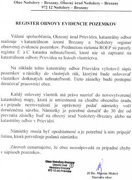REGISTER OBNOVY EVIDENCIE POZEMKOV VazenI spoluobcania