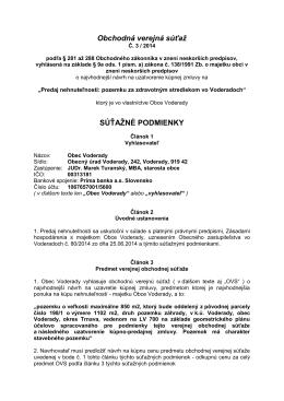 Obchodná verejná súťaž č. 3/2014 predaj