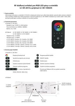 RF diaľkový ovládač pre RGB LED pásy a svietidlá LC-SR