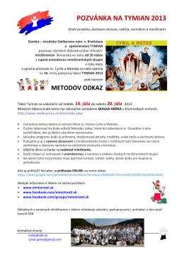 pozvánka na tymian 2013