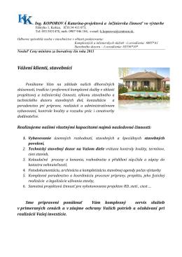 Vážení klienti, stavebníci