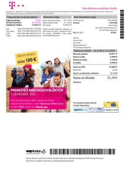 T-Mobile Invoice - Diviacka Nová Ves