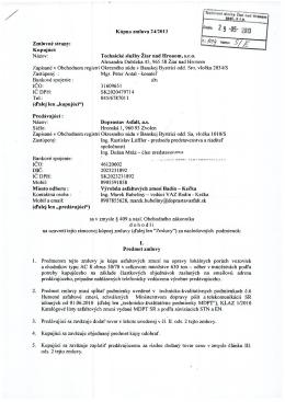 Kúpna zmluva 24/2013 Zmluvné strany: Kupujúci