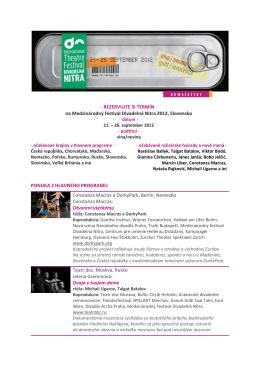 na Medzinárodný festival Divadelná Nitra 2012, Slovensko