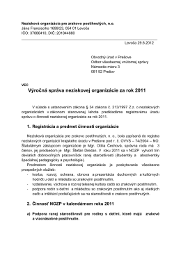 Výročná správa neziskovej organizácie za rok 2011