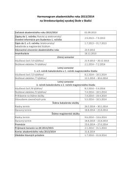 Harmonogram na akademický rok 2013-2014