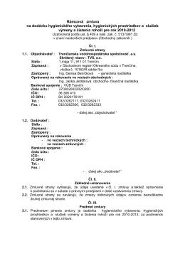 Rámcová zmluva - Trenčianska vodohospodárska spoločnosť as