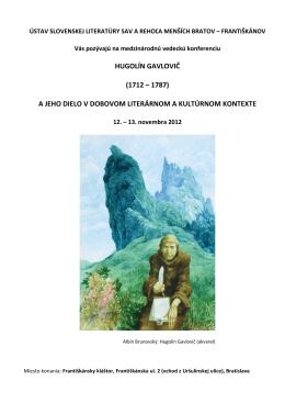 hugolín gavlovič - Ústav slovenskej literatúry SAV